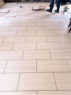 Which direction to lay tile flooring? 12 x 24 tile floor being laid across the narrow width of the room to make the room appear wider. 12x24 Tile Patterns, Brick Pattern Tile, Tile Layout Patterns, Brick Patterns, Herringbone Pattern, Design Patterns, Non Slip Bathroom Flooring, Bathroom Floor Tiles, Kitchen Flooring