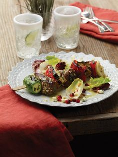 """Grilled Lamb Kabobs with Tri-Colored Salad from """"The Healthy Home Cookbook"""" -- Learn to cook for everyone in this guide to making healthy, delicious meals specifically for parties, celebrations, entertaining and other group gatherings."""