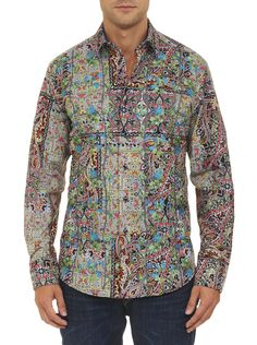 Make a bold move! The paisley print pops with personality, while floral over embroidery gives it some bloomin' brilliant detail. It might be called lost city… but out on the town we guarantee this statement shirt won't get lost. Mens Printed Shirts, Robert Graham, Lost City, City Style, Mens Fashion, City Fashion, Fashion Shirts, Resort Wear, Sports Shirts