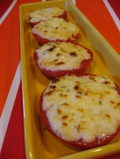 Cheesy Tomato Slices {Taste of Home}    1/2 c. shredded mozzarella  1/2 c. grated Parmesan  1/4 c. mayo  1 tsp. dried oregano  salt  4 tomatoes    Slice the tomatoes into thick slices and place on an ungreased cookie sheet. Mix the rest of the ingredients together and spread on top of the tomato slices. Broil 3 min. until cheese is melted.