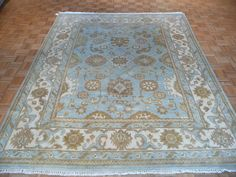 8 x 10 HAND KNOTTED LIGHT BLUE OUSHAK ORIENTAL RUG  #Transitional $1200