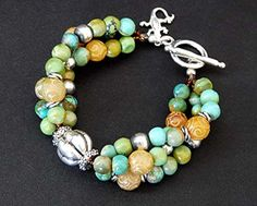 3-Strand Turquoise & Jade Bracelet with Sterling