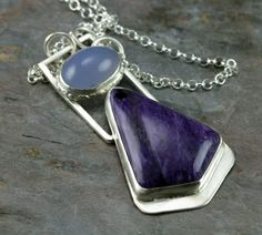 Charoite Sterling Necklace  Charoite and Holley Blue by PPennee, $265.00
