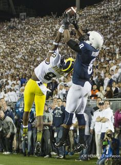 PENN STATE – FOOTBALL 2013 – Penn State vs Michigan on Homecoming, October 12, 2013. Penn State wide receiver Allen Robinson hauls in a 36-yard pass behind Michigan defensive back Channing Stribling on the 1-yard line in the last minute of the fourth quarter at Beaver Stadium. The Lions scored on the next play to tie the game. Penn State beat Michigan, 43-40 in four overtimes. Joe Hermitt, PennLive.com