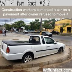 Construction workers cement a car - WTF fun facts