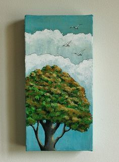 Small original wall art tree painting acrylic by MarieClaproodArt