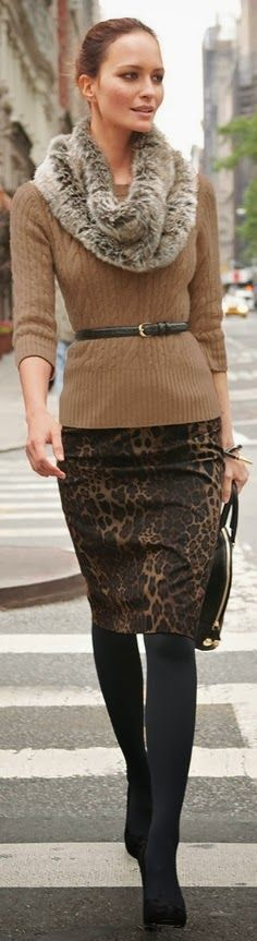 Fall Outfit With Leopard Skirt and Brown Sweater