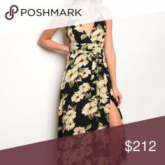 Floral Maxi Dress *Spring/Summer 2018 line* NEW!  Get yours early, From our Spring/Summer 2018 line! Its never to early to start planning your spring/summer wardrobe!  Black with multi colored floral print maxi dress, a v neckline and tie at waist and has a sexy slit! as seen in pics! Modeled in a size small Country: USA Fabric Content: 95% POLYESTER 5% SPANDEX . Dresses Maxi