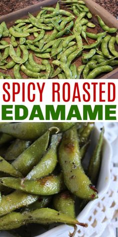 This Roasted Spicy Edamame Recipe Is Simple To Make And Brings Out The Full Flavor Of The Edamame. Solidified Edamame Make This A Convenient Appetizer Or Snack. Via Sweeterbydesign Healthy Appetizers, Appetizer Recipes, Healthy Dinner Recipes, Healthy Snacks, Frozen Appetizers, Frozen Edamame Recipe, Spicy Recipes, Cooking Recipes, Corn Recipes