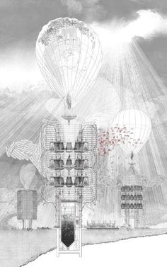 Melencolia City of Sadness, Section through the Council Tower of Melencolia by Thandi Loewenson - UCL Unit 10 Architecture Graphics, Architecture Drawings, Architecture Portfolio, Gothic Architecture, Architecture Design, Architecture Diagrams, Section Drawing, Architectural Section, Architectural Presentation