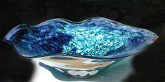 """""""Yin Yang"""" Purple & Teal -  Glass Sink, Vessel Sink, Baptismal Font, Glass Sinks, Glass Vessel Sinks, Hand Blown Glass Sink, Glass Bowl Sink and Glass Pedestal Sink"""