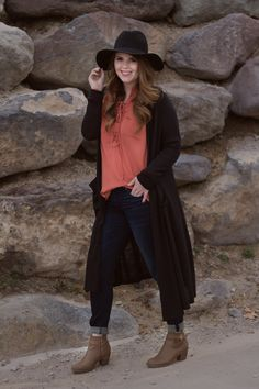 Removing Negativity From your life, rust top, rust, blouse, lace up top, outfit, outfit inspo, outfit idea, hat, black hat, black wide brimmed hat outfit, black cardigan, black duster, fall outfit, fall outfit idea, booties, redhead fashion, fashion ideas, modest outfit ideas,