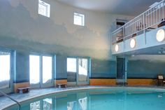 Indoor Pool Room Walls painted with Ombre Finish in Multiple Shades of Aqua Room Wall Painting, Mural Painting, Paint Sheen, Hudson River School, Wall Finishes, Painting Techniques, Surface Design, Interior And Exterior, Art Decor