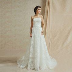 Vestido de Noiva Trapézio Sem Alças Comprido – EUR € 399.99