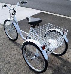New-6-Speed-24-3-Wheel-Adult-Tricycle-Bicycle-Trike-Cruise-W-Basket-White