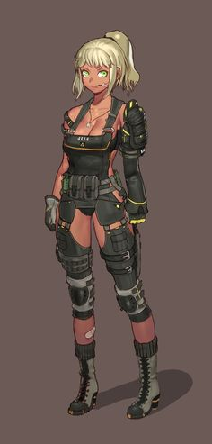 Female Character Design, Character Design References, Character Concept, Character Art, Concept Art, Anime Military, Military Girl, Female Armor, Cyberpunk Character