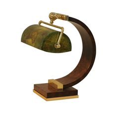 European Walnut Burl Inlaid Desk Lamp with Brass Accents and a Green Dyed Penshell Shade. #lighting #lamp #maitland