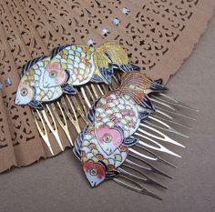 Vintage hair combs Chinese cloisonne orange by ElrondsEmporium