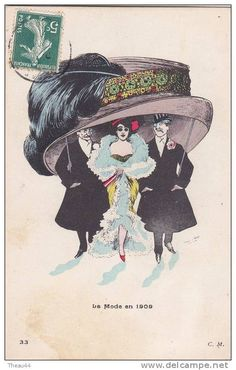 Le Mode 1909 - Lady and two gentlemen