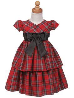 Infant & Toddler Girls Red Plaid Dress Layered Skirt Holiday Christmas | eBay