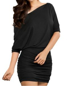 Packet Buttock Ruched Batwing Sleeve One-Shoulder Women's Dress