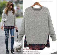 Find More Pullovers Information about Europe and America women's Plus Size Plus fertilizer lenient fashion Temperament false two sweaters Sui the ride ,High Quality sweater fashion,China sweatshirt prices Suppliers, Cheap sweatshirt fashion from Golden Xiaopu on Aliexpress.com