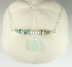 Handmade Larimar Necklace Genuine Aqua Sea Glass Jewelry In Sterling Silver | Surfside Sea Glass Jewelry