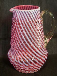 Northwood CHRYSANTHEMUM SWIRL Water Pitcher - Cranberry Opalescent
