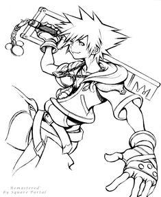 A remastered edit of Nomura's Sora Sketch Kingdom Hearts Ii, Key Of Light, Tetsuya Nomura, Kindom Hearts, Best Couple, Final Fantasy, Art Reference, Coloring Pages, Fan Art