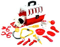 Dalmatian Vet Kit - $36.95 - Bring your puppy to the vet in his pet carrier. Take his temperature, make sure his heart and lungs are healthy with the stethoscope, check his blood-pressure, look in his floppy ears with the scope, test his reflexes with the reflex hammer. Great career play! (Click to become a Veterinarian!)