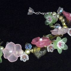 """""""Blossoms of May"""" a Vintage Lucite Flower Bracelet with Freshwater Pearls, by K for """"Trifles & Whimsy"""" on Etsy"""