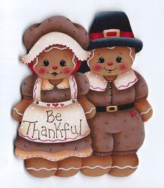 "HP GINGERBREAD Pilgrims ""Be Thankful"" FRIDGE MAGNET #Handpainted"