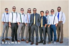 I like the mix of color for the groomsmen's suspenders.   Hotel Del Coronado Wedding, Photography by Bauman Photographers   View More: http://baumanphotographers.com/blog/destination-wedding-photography/2015/10/balboa-park-wedding-san-diego-ca-wedding/
