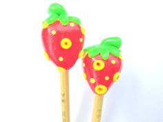 Sweet Strawberry Knitting Needles handmade polymer toppers on premium bamboo size 4