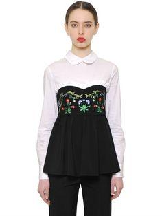 VIVETTA COTTON POPLIN & STRETCH WOOL TOP, WHITE/BLACK. #vivetta #cloth #tops