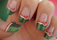 9 Best Watermelon Nail Art Designs: Decorative Watermelon Nail Art: