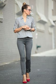 Grey polka dot shirt tucked in grey skinnies and styled with red ballet flats or heels