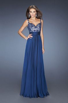 Long fitted bodice dress with chiffon skirt. The bodice is overlaid with fine lace and has a v neck Product Code: 80117