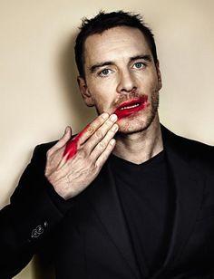 ...Oh & put makeup on him, give him a mani pedi & paint his finger & toe nails! ;) Michael Fassbender by Jerome Bonnet