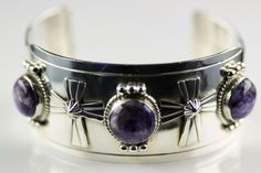 Native American Navajo Sterling Silver Purple Sodalite Cross Cuff Bracelet by LoudCrowTradingCo on Etsy