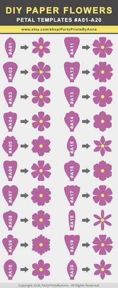 SVG Paper Flower TEMPLATES, SET of 50 Petals, 4 Bases, 6 Centers, and 4 Leaves | giant paper flower templates, molde de flores de papel