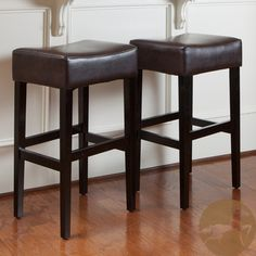 @Overstock.com - Christopher Knight Home Brown Leather Backless Bar Stools (Set of 2) - These comfortably soft, bonded leather bar stools are a perfect transitional piece from your kitchen to your living room. These bar stools feature brown-colored leather and espresso stained legs.  http://www.overstock.com/Home-Garden/Christopher-Knight-Home-Brown-Leather-Backless-Bar-Stools-Set-of-2/6075626/product.html?CID=214117 $140.99