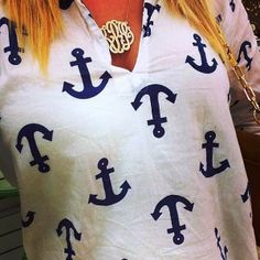 White Anchor Blouse....would be cute with coral jeans or shorts