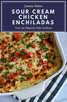 Joanna Gaines recipe from the Magnolia Table Cookbook for Sour Cream Chicken Enchiladas is a fun and easy meal for… Sour Cream Enchiladas, Chicken Enchiladas, Joanna Gaines, Jojo Gaines, Cookbook Recipes, Cooking Recipes, Cooking Hacks, Magnolia Table, Magnolia Foods