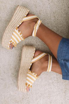 The Charlotte Espadrille In Yellow - Cute shoes - Black Strappy Heels, Wedge Heels, High Heels, Black Suede, Sandal Heels, Espadrille Sandals, Aesthetic Shoes, Cute Sandals, Trendy Shoes