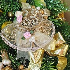Christmas ornaments hat gold shabby pink satin roses faux pearls bows Victorian
