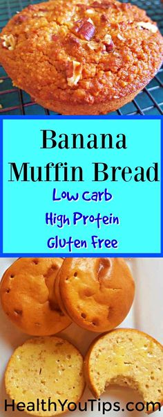 A healthy low carb banana bread muffin recipe you can make fast! Use this recipe and all of the recipe variations for healthy breakfast or easy sweet snack on a healthy diet. The ingredients are high protein, gluten free, low carb and grain free. Theres no added sugar so its perfect for a clean eating program or sugar detox. #recipe, #healthyfood #muffin #Lowcarb #highprotein #sugarfree