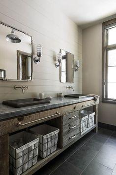 Metal Storage Baskets via Samsel Architects Rustic Bathroom Lighting, Barn Bathroom, Rustic Bathroom Designs, Rustic Bathroom Vanities, Modern Farmhouse Bathroom, Rustic Bathrooms, Small Bathroom, Barn Lighting, Bathroom Ideas