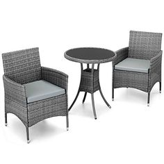VonHaus 3 Piece Rattan Dining Set - Outdoor Glass-topped Table