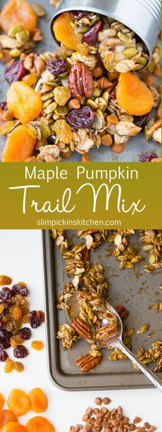 This Maple Pumpkin Fall Harvest Trail Mix recipe is salty and sweet and the perfect healthy homemade snack recipe for road trips or after school activities